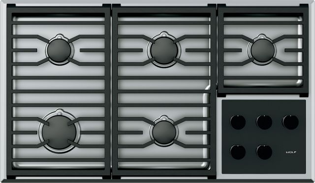 """Wolf® 36"""" Transitional Gas Cooktop-Stainless Steel-CG365T/SLP"""