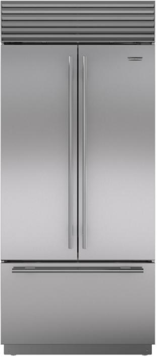 Sub-Zero® 21 Cu. Ft. Built In French Door Refrigerator-Stainless Steel-BI-36UFD/S/TH