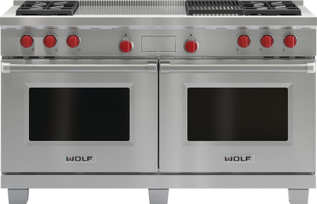"""Wolf® 60"""" Pro Style Dual Fuel Range-Stainless Steel-DF604CF"""