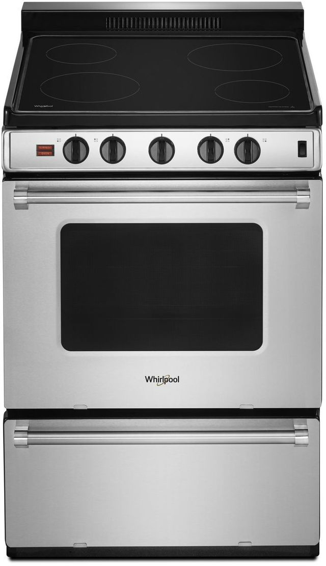 """Whirlpool® 24"""" Free Standing Electric Range-Stainless Steel-WFE500M4HS"""