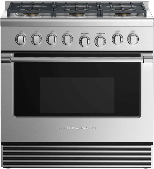 """Fisher & Paykel 36"""" Pro Style Gas Range-Stainless Steel-RGV2-366L N"""