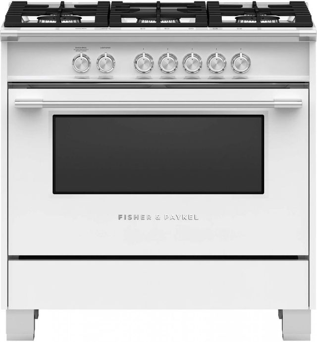 """Fisher Paykel 36"""" Free Standing Gas Range-White-OR36SCG4W1"""