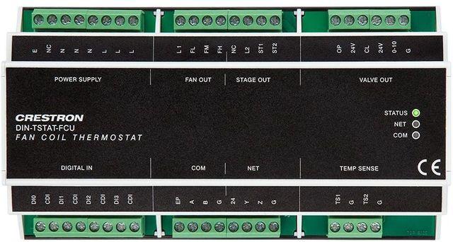 Crestron® DIN Rail Heating & Cooling Fan-Coil Thermostat-DIN-TSTAT-FCU