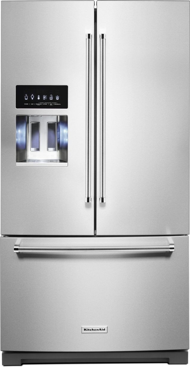 KitchenAid® 26.8 Cu. Ft. Stainless Steel with PrintShield™ Finish French Door Refrigerator-KRFF507HPS-B