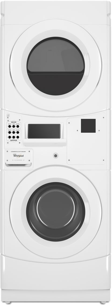Whirlpool® Commercial 3.1 Cu. Ft. Washer, 6.7 Cu. Ft. Dryer White Stack Laundry-CET9100GQ