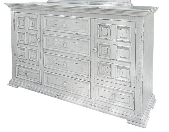 International Furniture© 1022 Terra Distressed Vintage White Dresser-IFD1022DSR