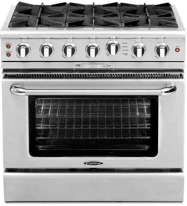 """Capital Culinarian 36"""" Stainless Steel Free Standing Gas Range-CGSR366N"""