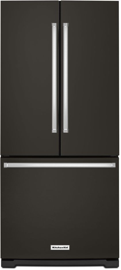 KitchenAid® 19.68 Cu. Ft. Black Stainless Steel with PrintShield™ Finish French Door Refrigerator-KRFF300EBS