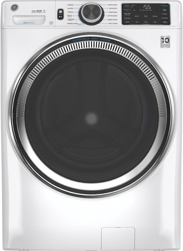 GE® 4.8 Cu. Ft. White Smart Front Load Washer-GFW650SSNWW