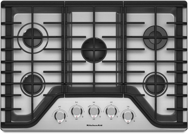 KitchenAid® 30'' Stainless Steel Gas Cooktop-KCGS350ESS
