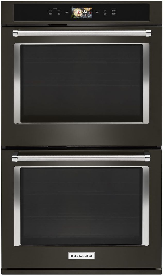 """KitchenAid® 30"""" Black Stainless Steel with PrintShield™ Finish Smart  Electric Double Oven Built In-KODE900HBS"""