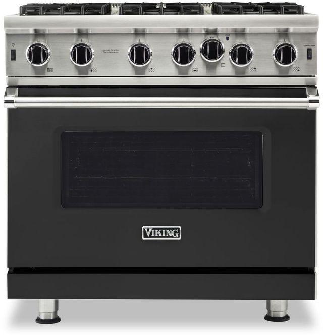 "Viking® 5 Series 36"" Cast Black Pro Style Liquid Propane Gas Range-VGIC53626BCSLP"