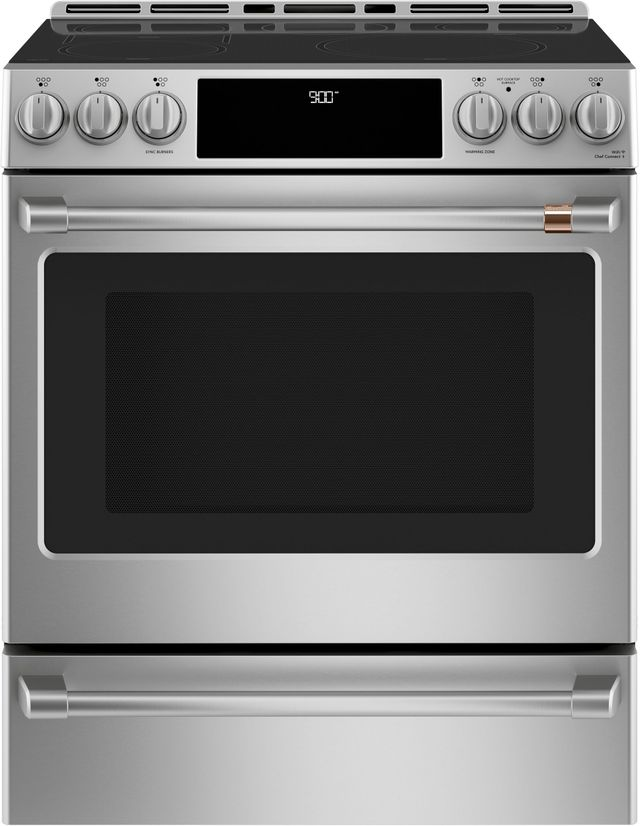 """Café™ 30"""" Stainless Steel Slide in Electric Range-CHS900P2MS1"""