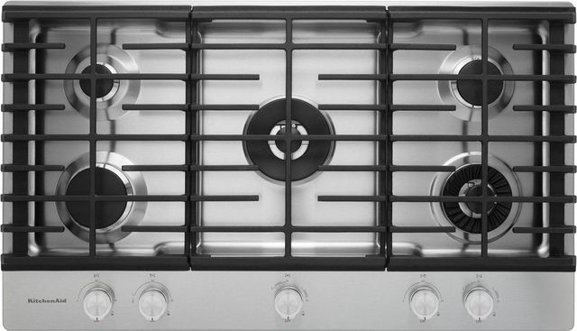 KitchenAid® 37'' Stainless Steel Gas Cooktop-KCGS956ESS