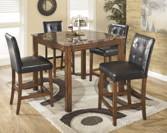 Signature Design by Ashley® Theo 5 Piece Warm Brown Square Counter Table Set-D158-233