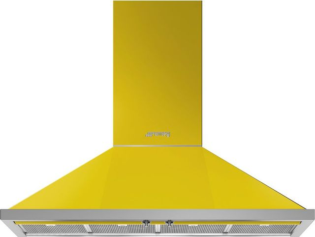 """Smeg Portofino Aesthetic 48"""" Yellow Wall Mounted Range Hood-KPF48UYW"""