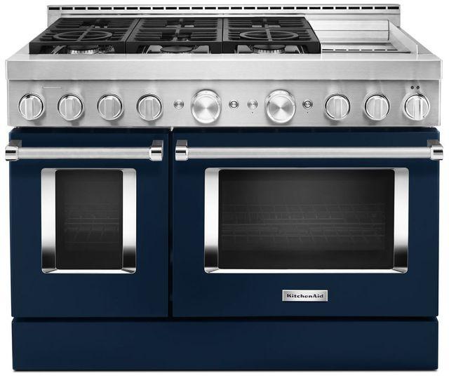 Cuisinière intelligente au gaz style commercial de 48 po KitchenAid® de 6,3 pi³, avec plaque chauffante - Encre bleue-KFGC558JIB