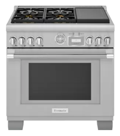 """Thermador® Pro-Grand® Series 36"""" Stainless Steel Pro Style Dual Fuel Range with Induction-PRD364WIGC"""