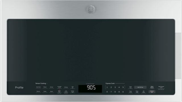 GE Profile™ 2.1 Cu. Ft. Stainless Steel Over The Range Sensor Microwave Oven-PVM9005SJSS