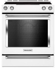 "KitchenAid® 30"" Slide In Electric Convection Range-White-KSEB900EWH"