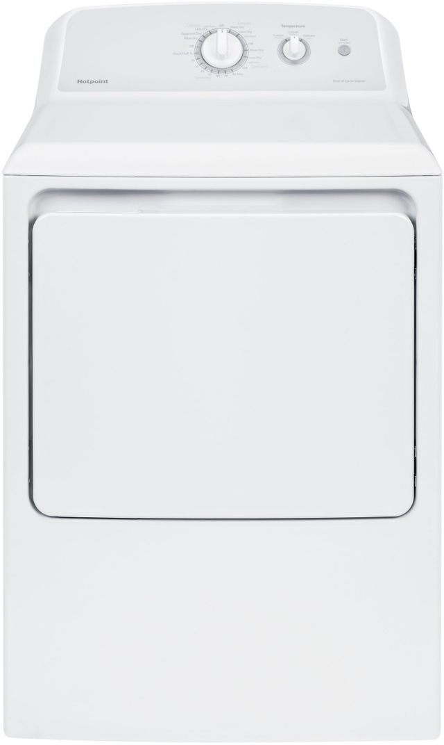 Hotpoint® 6.2 Cu. Ft. White Front Load Electric Dryer-HTX24EASKWS