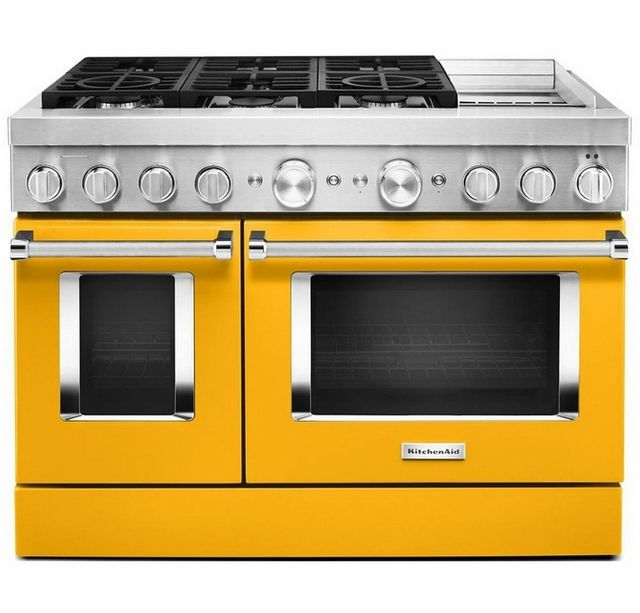 """KitchenAid® 48"""" Yellow Pepper Commercial-Style Free Standing Dual Fuel Range with Griddle-KFDC558JYP"""