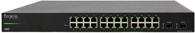 SnapAV Araknis Networks® 310 Series Black 24+2 Front Ports L2 Managed Gigabit Switch with Full PoE+-AN-310-SW-F-24-POE