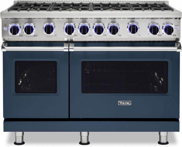 "Viking® 7 Series 48"" Slate Blue Pro Style Liquid Propane Gas Range-VGR74828BSBLP"