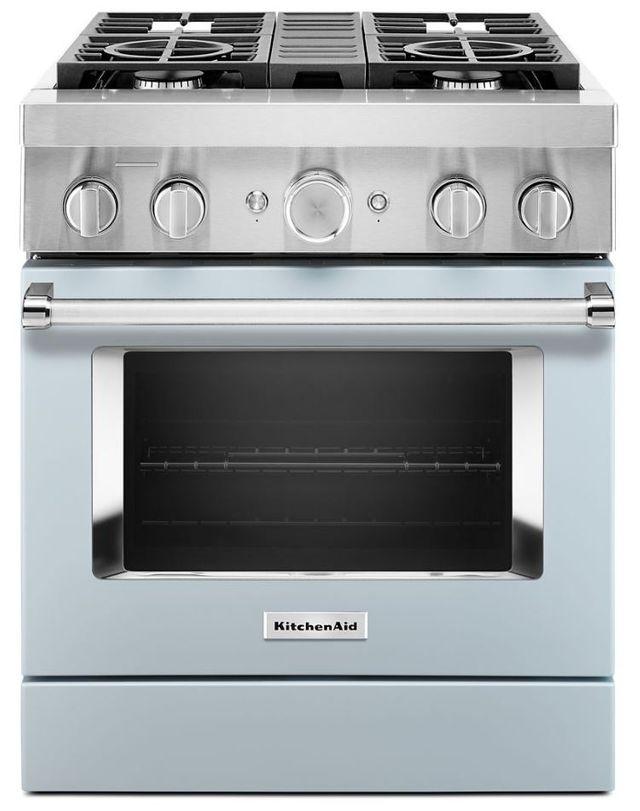 Cuisinière bicombustible intelligente style commercial de 30 po KitchenAid® de 4,1 pi³ - Bleu brumeux-KFDC500JMB