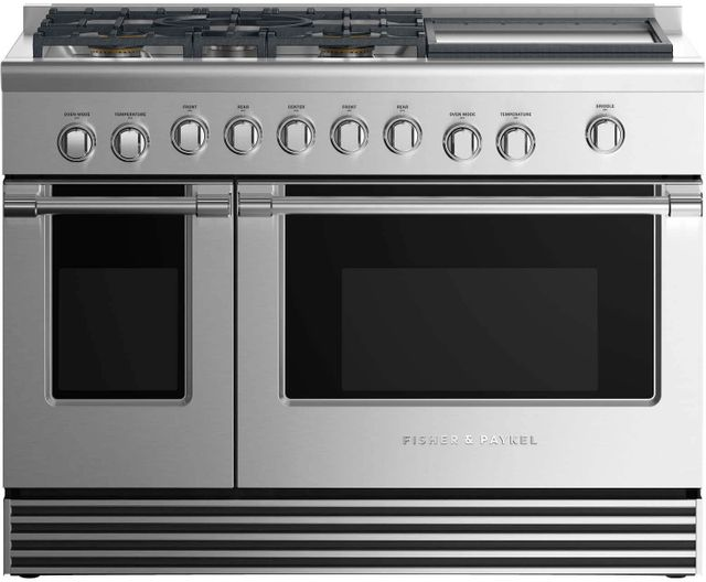 """Fisher Paykel Series 7 48"""" Stainless Steel Pro Style Gas Range-RGV2-485GDN N"""