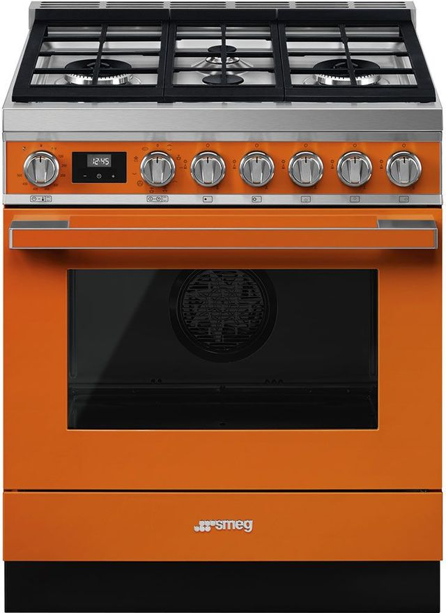 """Smeg Portofino Aesthetic 30"""" Orange Pro Style Dual Fuel Natural Gas Range-CPF30UGMOR"""