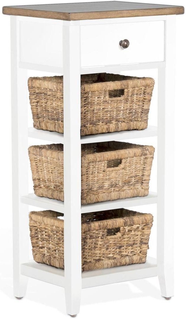 Sunny Designs Accents White and Natural Storage Rack w/ Baskets-2012WN