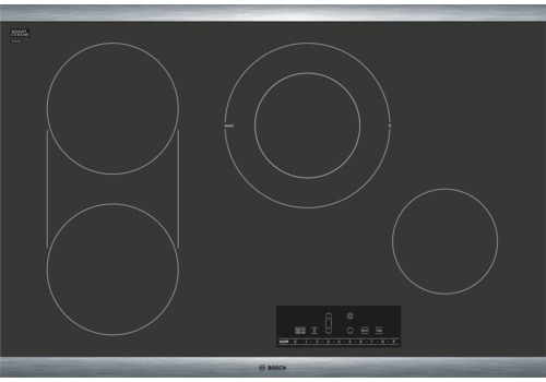 """Bosch 800 Series 30"""" Electric Cooktop-Black with Stainless Steel Frame-NET8068SUC"""