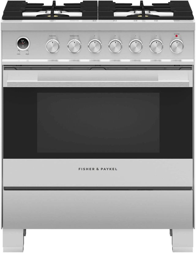 """Fisher & Paykel 30"""" Free Standing Dual Fuel Range-Brushed Stainless Steel-OR30SDG6X1"""