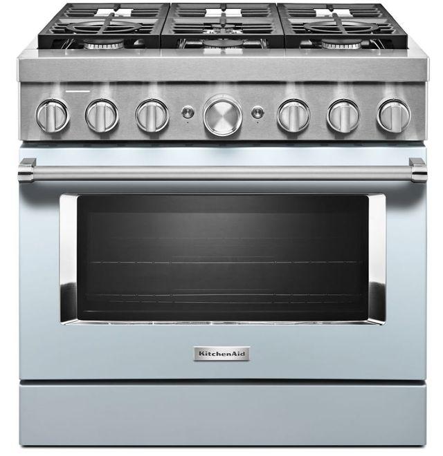 "KitchenAid® 36"" Misty Blue Commercial-Style Free Standing Dual Fuel Range-KFDC506JMB"