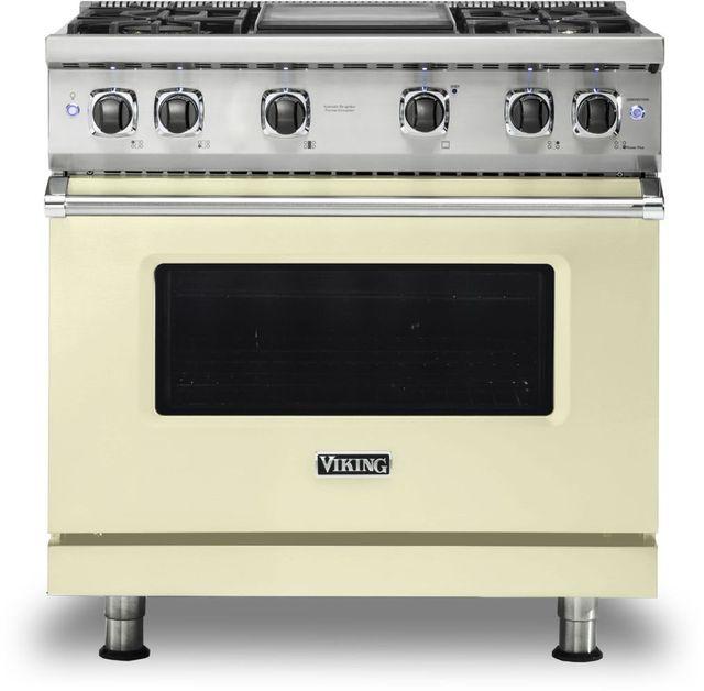"Viking® 5 Series 36"" Vanilla Cream Pro Style Natural Gas Range with 12"" Griddle-VGR5364GVC"