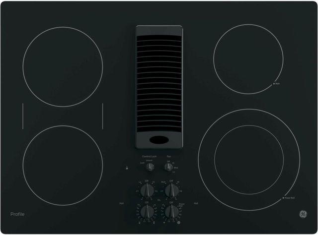 """GE Profile™ Series 30"""" Black Electric Cooktop-PP9830DJBB"""
