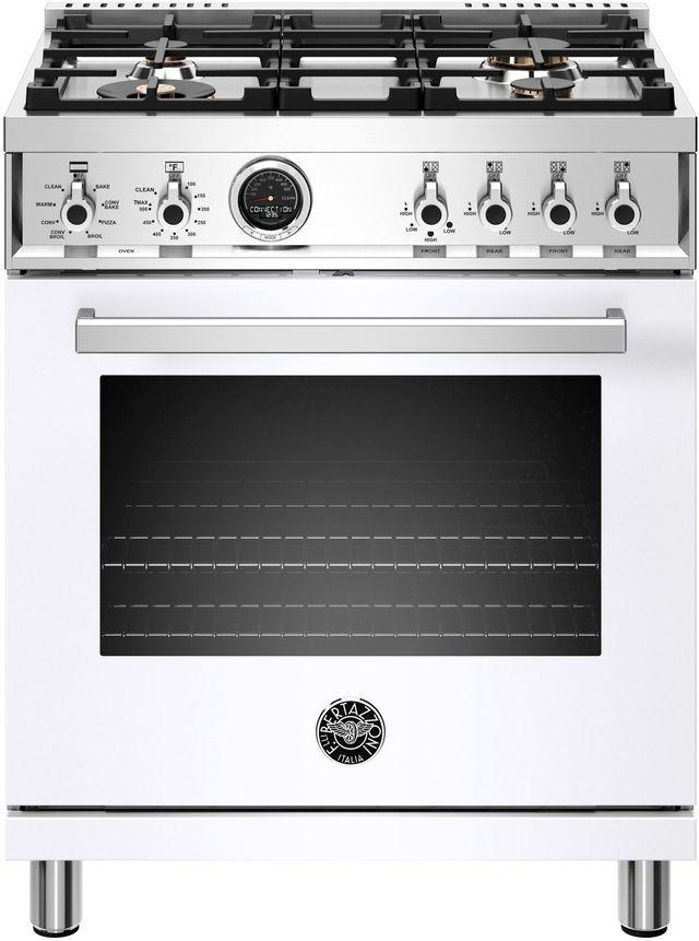 Cuisinière biénergie style Pro Bertazzoni® de 4,6 pi³ de 30 po - Blanc-PROF304DFSBIT