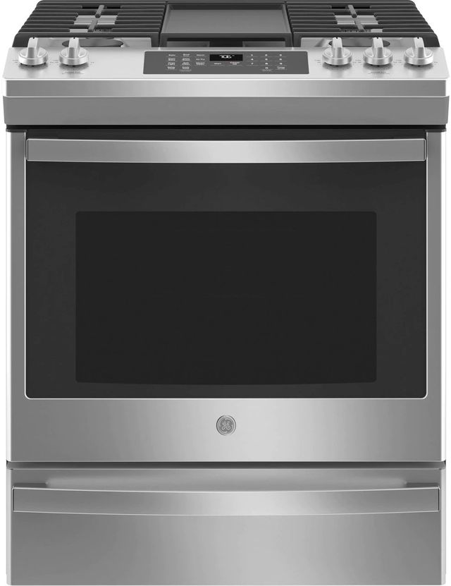 """GE® 30"""" Stainless Steel Slide In Convection Gas Range-JGS760SPSS"""