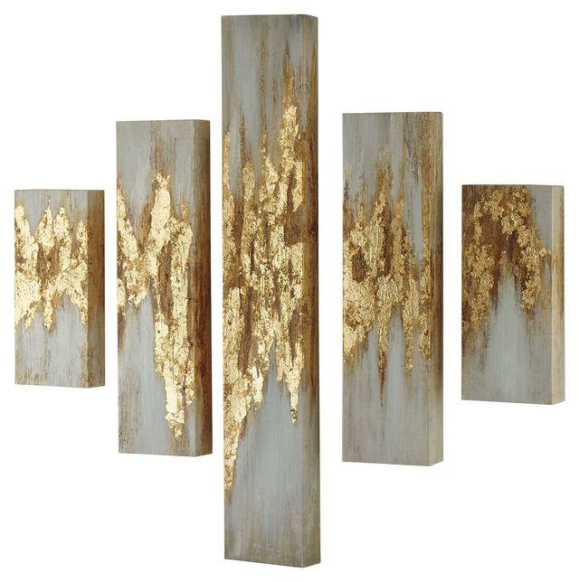 Signature Design by Ashley® Devlan 5 Piece Gold /White Wall Art Set-A8000149