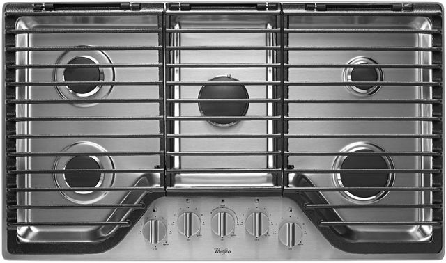 """Whirlpool® 36"""" Gas Cooktop-Stainless Steel-WCG97US6DS"""