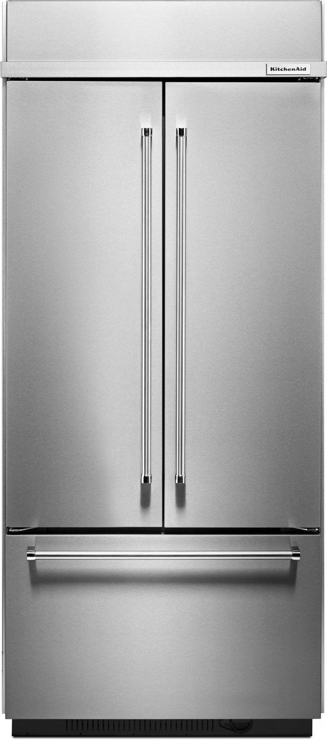 KitchenAid® 20.81 Cu. Ft. Stainless Steel Built In French Door Refrigerator-KBFN506ESS