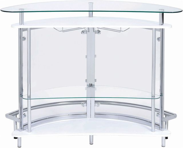 Coaster® CoasterEssence White And Chrome 2-Tier Bar Unit-101066