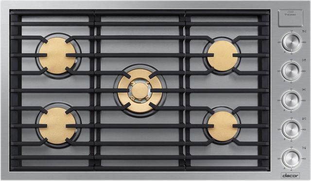 """Dacor® Contemporary 36"""" Stainless Steel Gas Cooktop-DTG36M955FS"""