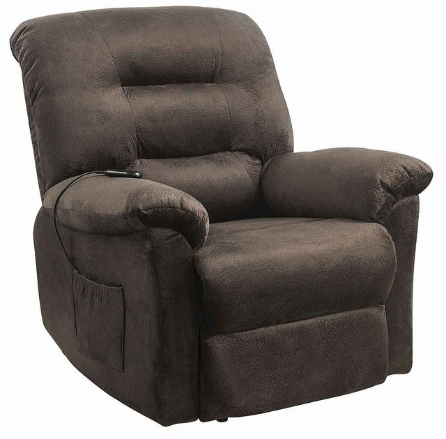 Coaster® Chocolate Upholstered Power Lift Recliner-601026