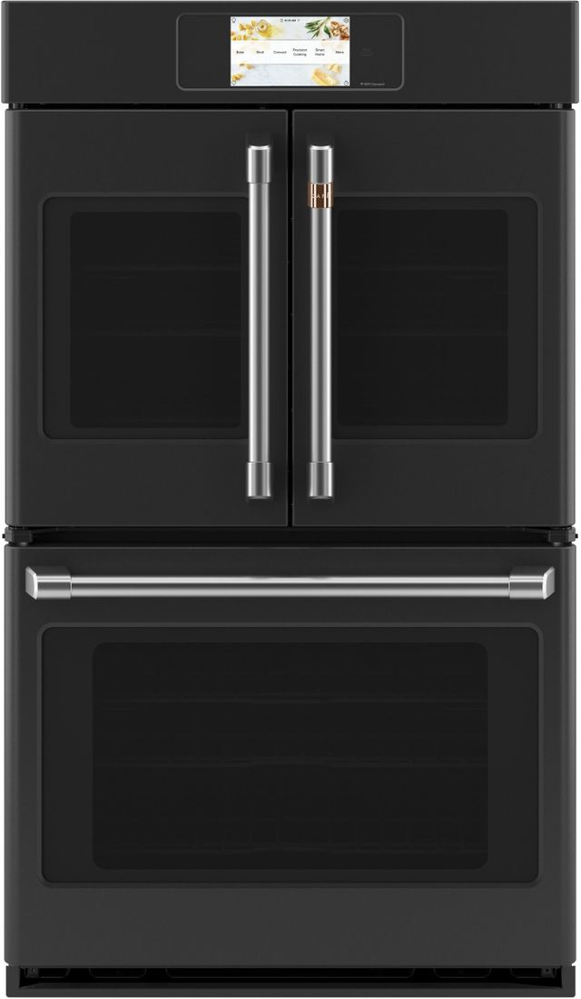 """Café™ Professional Series 29.75"""" Matte Black Smart Built In Convection French Door Double Wall Oven-CTD90FP3ND1"""