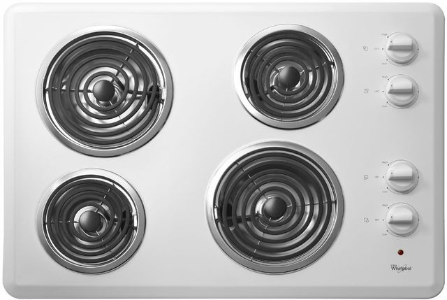 """Whirlpool® 30"""" Electric Cooktop-White-WCC31430AW"""