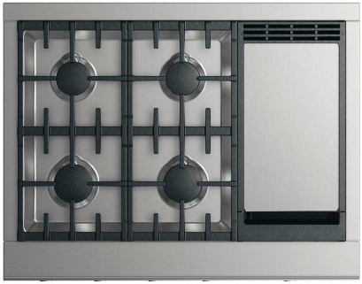 """DCS 36"""" Professional Gas Cooktop-Stainless Steel-CPV2-364GD-L"""