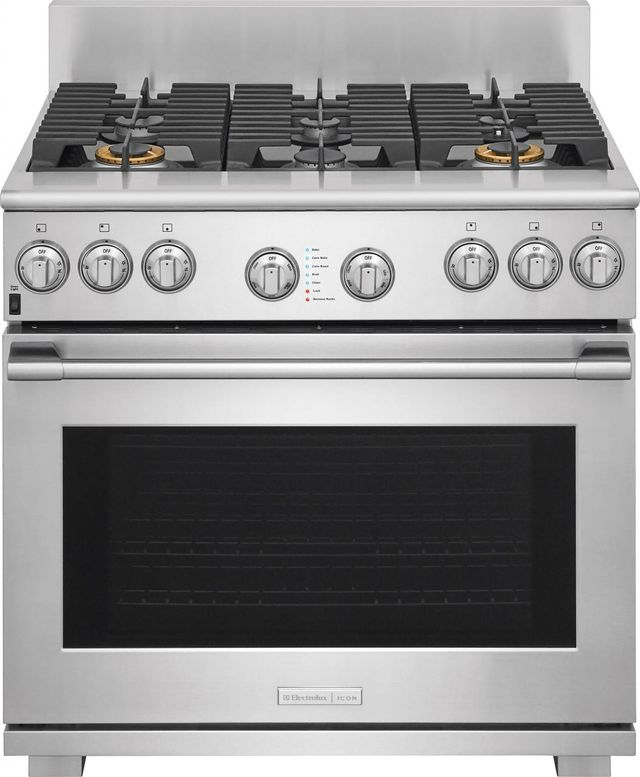 """Electrolux ICON® Professional Series 35.88"""" Stainless Steel Free Standing Dual Fuel Range-E36DF76TPS"""