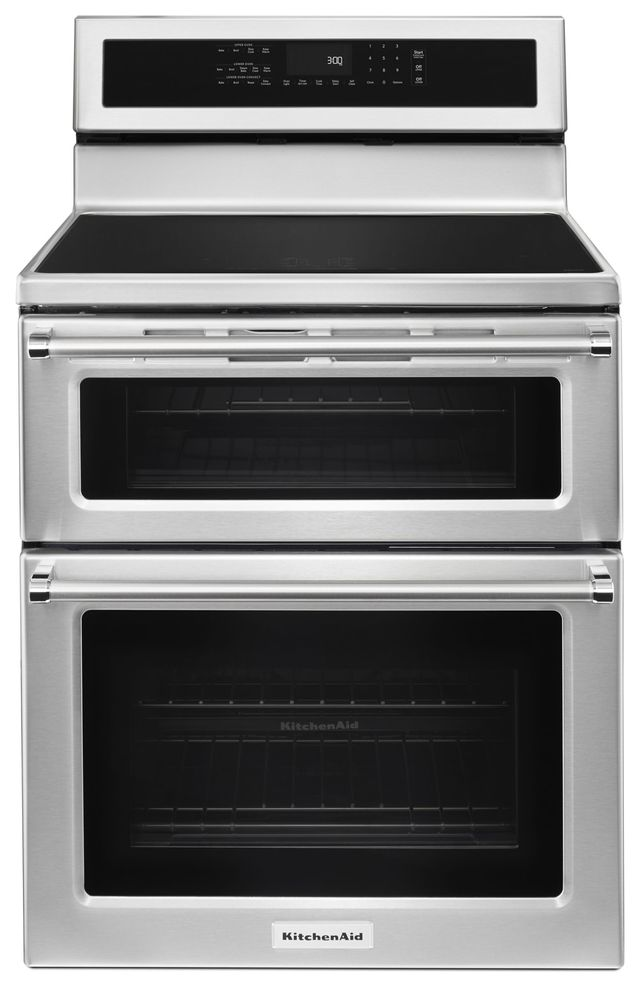 """KitchenAid® 30"""" Stainless Steel Free Standing Electric Double Oven Range-KFID500ESS"""